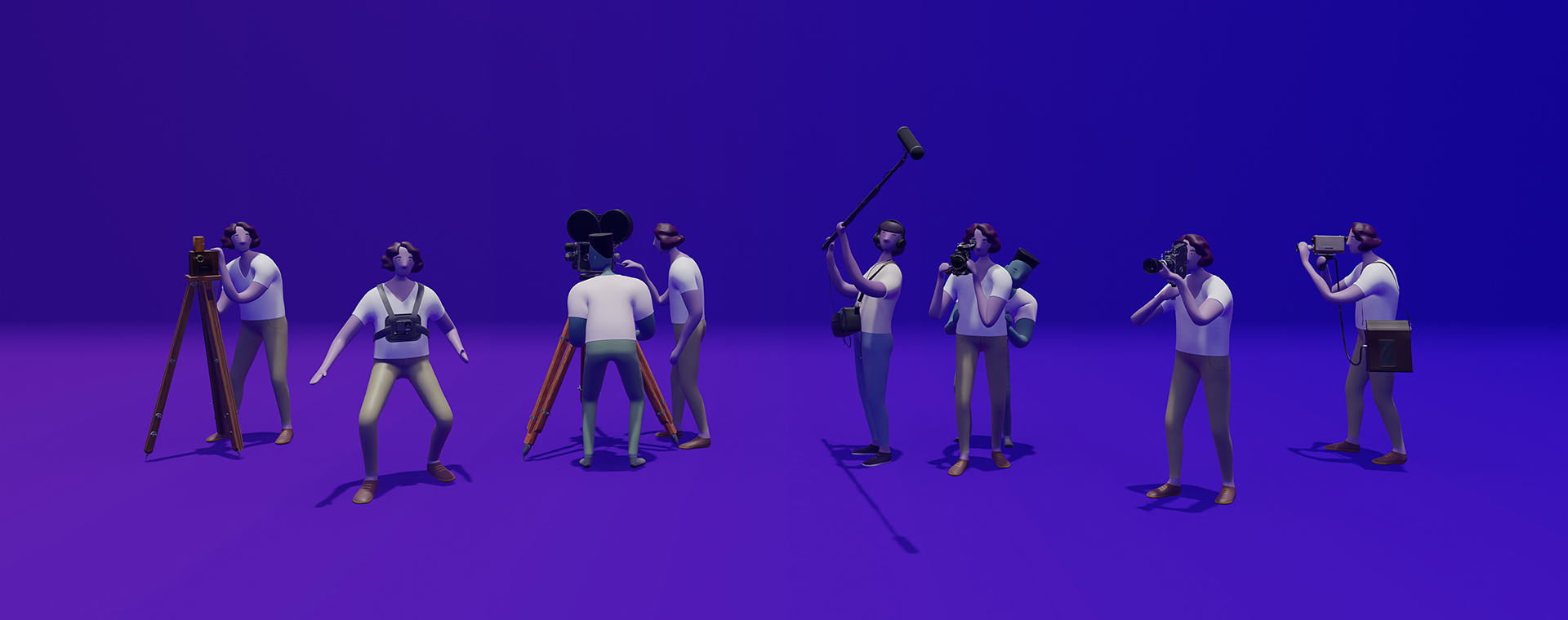 3D modeling of six cameras accompagnied by six operators and three assistants. They strike a pose, ready to shoot a movie.